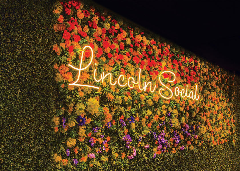 Lincoln Social flower wall