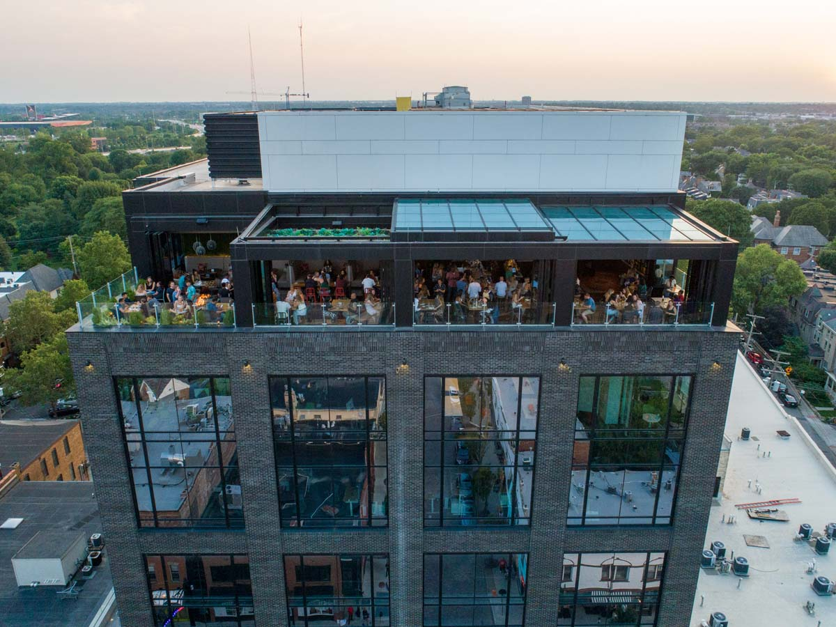 Drone view of dusk on Lincoln Social rooftop